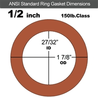 "Red SBR Rubber Ring Gasket - 150 Lb. - 1/8"" Thick - 1/2"" Pipe"