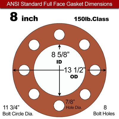 "60 Duro Red Silicone Rubber Full Face Gasket - 150 Lb. - 1/8"" Thick - 8"" Pipe"