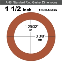 "60 Duro Red Silicone Rubber Ring Gasket - 150 Lb. - 1/16"" Thick - 1-1/2"" Pipe"