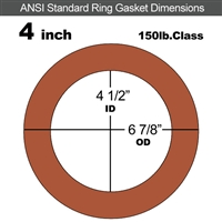 "60 Duro Red Silicone Rubber Ring Gasket - 150 Lb. - 1/8"" Thick - 4"" Pipe"