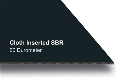 "60 Durometer Cloth Inserted Black SBR Rubber Sheet - 1/4"" Thick x 12"" x 12"""
