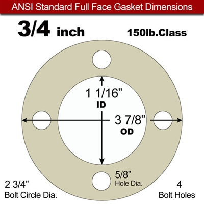 "40 Duro Tan Pure Gum Full Face Gasket - 150 Lb. - 1/16"" Thick - 3/4"" Pipe"