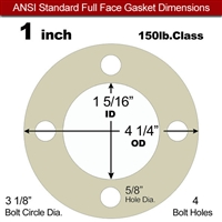 "40 Duro Tan Pure Gum Full Face Gasket - 150 Lb. - 1/16"" Thick - 1"" Pipe"