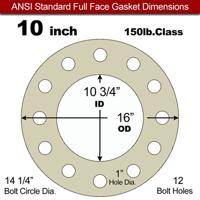 "40 Duro Tan Pure Gum Full Face Gasket - 150 Lb. - 1/16"" Thick - 10"" Pipe"