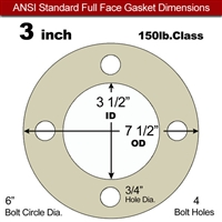 "40 Duro Tan Pure Gum Full Face Gasket - 150 Lb. - 1/16"" Thick - 3"" Pipe"