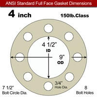 "40 Duro Tan Pure Gum Full Face Gasket - 150 Lb. - 1/16"" Thick - 4"" Pipe"