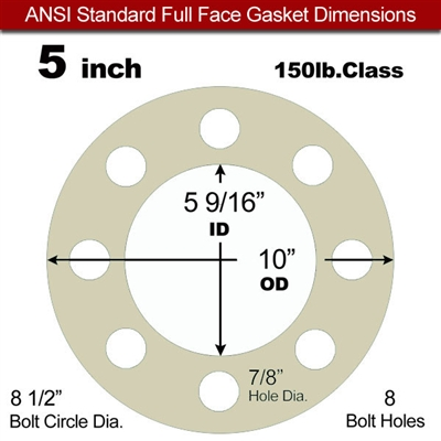 "40 Duro Tan Pure Gum Full Face Gasket - 150 Lb. - 1/16"" Thick - 5"" Pipe"
