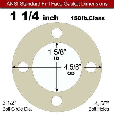"40 Duro Tan Pure Gum Full Face Gasket - 150 Lb. - 1/8"" Thick - 1-1/4"" Pipe"