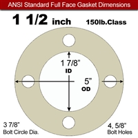 "40 Duro Tan Pure Gum Full Face Gasket - 150 Lb. - 1/8"" Thick - 1-1/2"" Pipe"