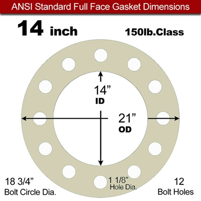 "40 Duro Tan Pure Gum Full Face Gasket - 150 Lb. - 1/8"" Thick - 14"" Pipe"