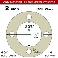"40 Duro Tan Pure Gum Full Face Gasket - 150 Lb. - 1/8"" Thick - 2"" Pipe"