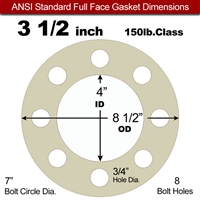 "40 Duro Tan Pure Gum Full Face Gasket - 150 Lb. - 1/8"" Thick - 3-1/2"" Pipe"