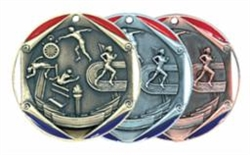 "2"" Tri-Color Medal Track and Field"
