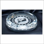 Crystal Round Paperweight 3 1/2 x 1/2