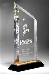 Slanted Clear Acrylic Award with Color Accent 14""
