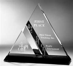 Achievement Dual Triangle Acrylic with Black Acrylic Base 7""