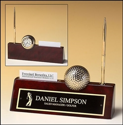 "Rosewood Goldtone Metal Golf Ball/ Clock 9"" x 9"" x 2 1/4"""