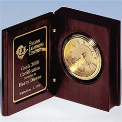 "Mahogany Book Clock With Gold-Spun Dial 5 3/8"" x 4 1/4"" x 1 7/8"""