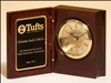 "Rosewood Book Clock With Diamond-spun dial 5 3/8"" x 4 1/4"" x 1 7/8"""