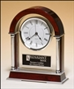 "Rosewood Mantle Clock With Chrome Plated Posts 8 1/2"" x 10 1/2"""