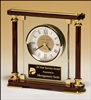 "Rosewood Glass Clock With Gold Metal Accents 7"" x 7"""