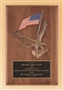 "Walnut Plaque with American Flag and Eagle Casting 8"" x 10 1/2"""
