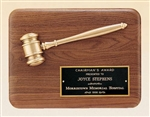 "American Walnut Plaque with Bronze Gavel 9"" x 12"""