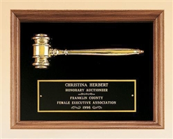 "American Walnut Frame Gavel Plaque 10"" x 13"""