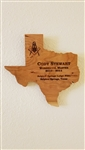 Texas Past Master on Cherry Plaque