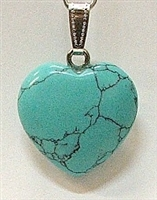 Y6-01 25mm TURQUOISE COLORING HEART PENDANT