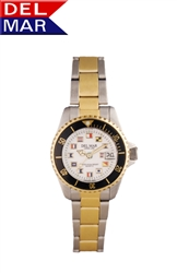 Women's Classic Nautical Flags Two Tone Watch, 200 Meter Water Resistant | Del Mar Watches