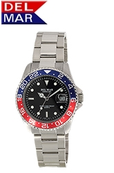 Classic 200M Water Resistant Men's All Stainless Steel Blue & Red Bezel from dive watch leader Del Mar Watch.
