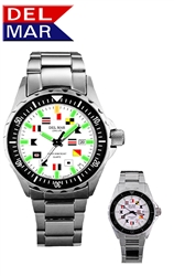 200M Men's SuperGlo, White Face, Boaters & Sportman's Watch, All Stainless Steel Case, Back and Adjustable Bracelet with Safety Clasp, Read at any light with DelMar's SuperGlo Watch Series