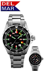 200M Men's SuperGlo Boaters & Sportman's Watch, All Stainless Steel Case, Back and Adjustable Bracelet with Safety Clasp, Read at any light with DelMar's SuperGlo Watch Series
