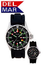 200M Men's Nautical Flag SuperGlo, Black Face, Boaters & Sportman's Watch, All Stainless Steel Case & Back,  Rubber Band, Long lasting battery.  Read at any light with DelMar's SuperGlo Watch Series