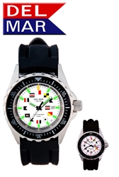 200M Men's SuperGlo, White Face, Boaters & Sportman's Watch, All Stainless Steel Case & Back,  Rubber Band, Long lasting battery.  Read at any light with DelMar's SuperGlo Watch Series