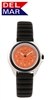 Unisex Lite Aluminum Watch Case - Orange Dial | 200 Meters Water Resistant | Calendar, Black Bezel, 24 hr. Dial | Del Mar Watches