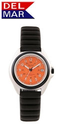 Lite Aluminum Watch Case - Orange Dial | 200 Meters Water Resistant | Calendar, Black Bezel, 24 hr. Dial | Del Mar Watches