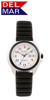 Unisex Lite Aluminum Watch Case - White Nautical Flag Dial | 200 Meters Water Resistant | Calendar, Black Bezel, 24 hr. Dial | Del Mar Watches