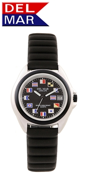 Unisex Lite Aluminum Watch Case - Black Nautical Flag Dial | 200 Meters Water Resistant | Calendar, Black Bezel, 24 hr. Dial | Del Mar Watches