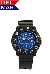 Del Mar Women's Dive 200 Blue Dial PU Watch, 200 Meter Water Resistant