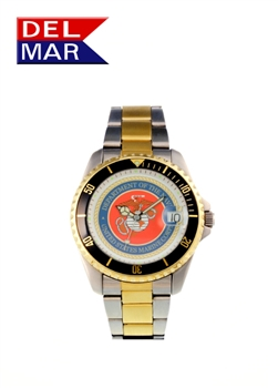 Del Mar Men's Marine Military Sport Dive Watch-Two Tone Stainless Steel Sport Dive Watch
