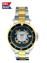 Del Mar Men's Coast Guard Military Sport Dive Watch-Two Tone Stainless Steel Sport Dive Watch