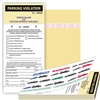 "PARKING VIOLATION W/Custom Imprint of Name/Address - 2 Part Carbonless Manila Tag with Perforation Stub and Adhesive Strips ­ 4.25"" x 9.25"", 50/Book"