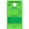 TEMPORARY PARKING PERMIT W/Custom Imprint  of Name/Address - Mirror Hang Tag numbered and with Tear-off Stub.  Fluorescent Green, 50/Pack