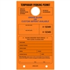 TEMPORARY PARKING PERMIT W/Custom Imprint of Name/Address - Mirror Hang Tag numbered and with Tear-off Stub.  Fluorescent Orange, 50/Pack