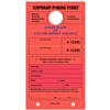 TEMPORARY PARKING PERMIT W/Custom Imprint of Name/Address - Mirror Hang Tag numbered and with Tear-off Stub.  Fluorescent Red, 50/Pack