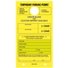 TEMPORARY PARKING PERMIT W/Custom Imprint of Name/Address - Mirror Hang Tag numbered and with Tear-off Stub.  Fluorescent Yellow, 50/Pack