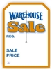 """Warehouse Sale"", 5 x 7in., Slit Hang Tag, 250 per shrink pack"
