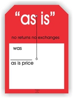 """As Is no returns no exchanges"", 5 x 7in., Slit Hang Tag, 250 per shrink pack"